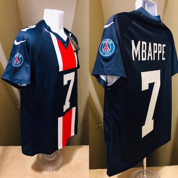 sports shoes b4ffb d65f6 2019 PSG Mbappe 7 Soccer Football NFL Style Jersey NWT